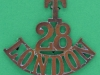 28th London Territorial Battalion. Shoulder title 53x45 mm.