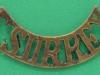 CW1036. East Surrey Regiment shoulder title post 1902. 53mm.