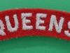 The Queens (West Surrey) Regiment cloth shoulder title 70 mm.