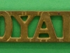 RW77. The Royal Dragoons (1st Dragoons) 1921 shoulder title. 49x11 mm.
