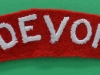 The Devonshire Regiment ww2 cloth shoulder title