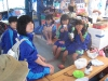 Japanes girls bathing their feets