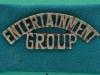 WW2 Entertainment Group shoulder title on green slide, 51 x 19mm