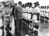 22nd January 1960:  British Prime Minister Harold MacMillan, later Earl of Stockton, inspecting a guard of honour of the First Kings Rifles in Lusaka, Northern Rhodesia.  (Photo by Central Press/Getty Images)