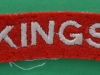 The Kings Liverpool Regiment cloth shoulder title.