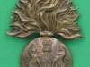 The Royal Scots Fusiliers small cap badge, not in KK. 40x55 mm. Sammensat af to mærker.