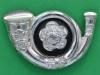 KK 670. Kings Own Yorkshire Light Infantry officers, silvered cap badge. Long lugs 37x34 mm.