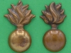CW181. The Lancashire Fusiliers collar badges, two different. 19x31mm & 29x16 mm.