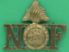 RW761. Northumberland Fusiliers. Shoulder title40x32 mm. 1913. 24x13 mm.