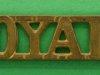 RW77. The Royal Dragoons (1st Dragoons) 1921 shoulder title. 49x11 mm.