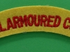 Royal Armoured Corps cloth shoulder title. 125x23 mm.