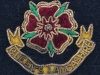Officers obsolete beret badge Queens Lancashire Regiment gold wire, worn during the transition in 2004. 36x30 mm.