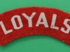 The Loyal North Lancashire Regiment printed cloth shoulder title 95x26 mm.