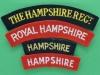 The Hampshire Regiment cloth shoulder titles, four different.