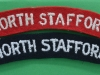 The North Staffordshire Regiment cloth shoulder titles, the red one is a ww2 issue.