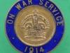 On war service, 1914, Birmingham. Mufti badge 26 mm.